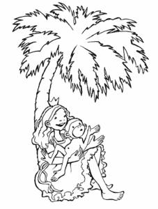 Pia und Palme Ausmalbild