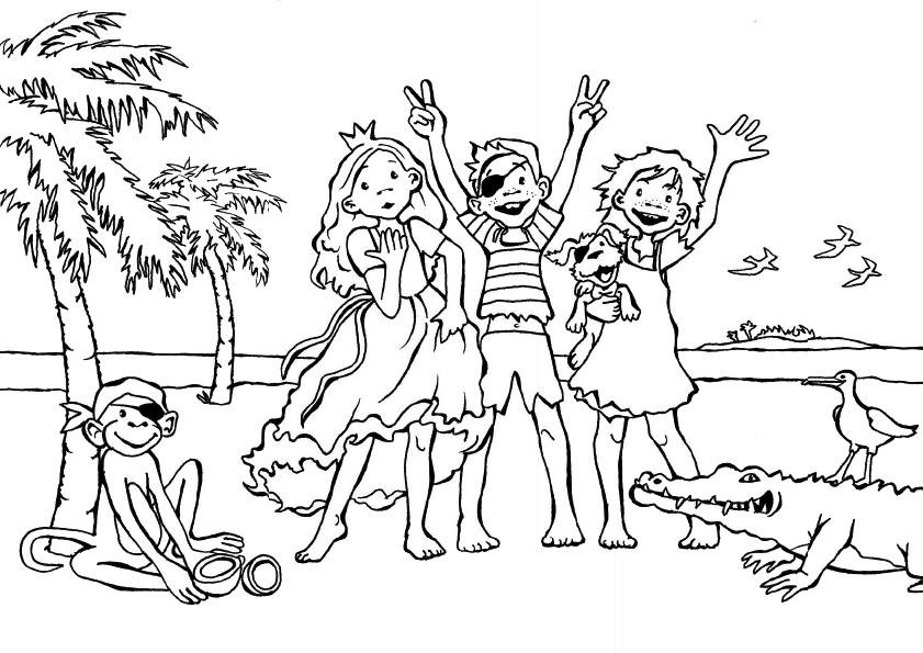 Kinder am Strand Ausmalbild