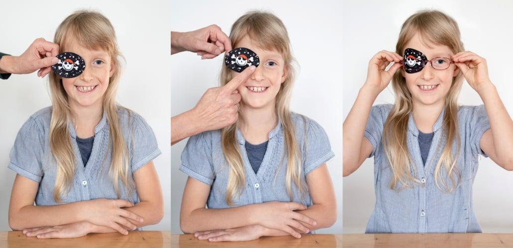 Augenpflaster kleben